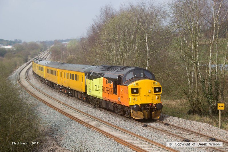 170323-005  Colas Rail Freight class 37 No 37099 Merl Evans in top & tail mode with Network Rail class 97 No 97302, captured nearing Boughton Junction on the High Marnham Test Track.. The test train was visiting the test track for calibration & had just arrived as 1Q01, 09.06 Derby RTC - Thoresby Colliery Junction.