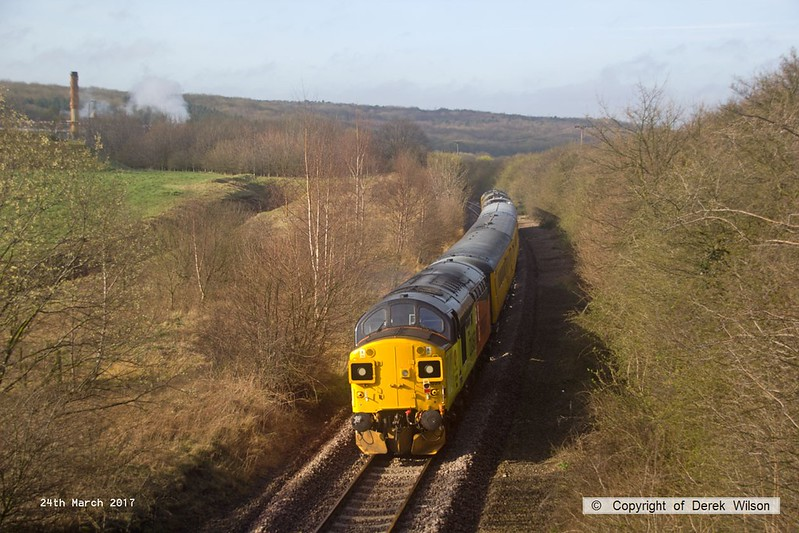 170324-005  Colas Rail Freight class 37 No 37099 Merl Evans in top & tail mode with Network Rail class 97 No 97302, seen passing Kirton brickworks during calibration on the High Marnham Test Track.