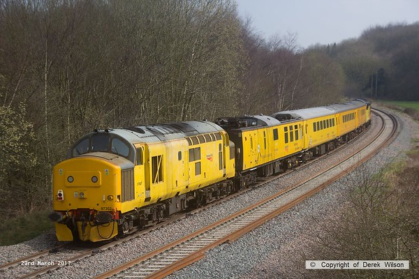 170323-013  Colas Rail Freight class 37 No 37099 Merl Evans in top & tail mode with Network Rail class 97 No 97302, captured nearing Boughton Junction on the High Marnham Test Track.. The test train was visiting the test track for calibration & had just arrived as 1Q01, 09.06 Derby RTC - Thoresby Colliery Junction.