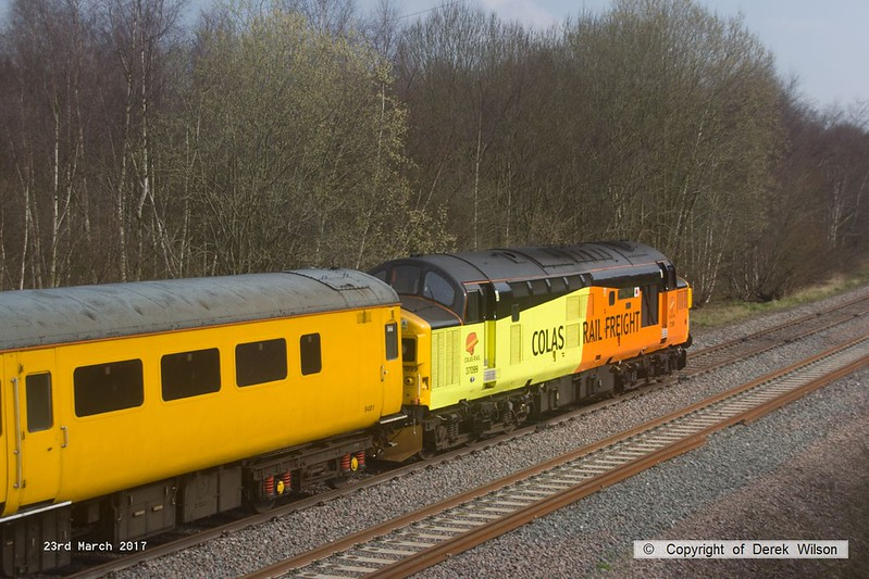 170323-008  Colas Rail Freight class 37 No 37099 Merl Evans in top & tail mode with Network Rail class 97 No 97302, captured nearing Boughton Junction on the High Marnham Test Track.. The test train was visiting the test track for calibration & had just arrived as 1Q01, 09.06 Derby RTC - Thoresby Colliery Junction.