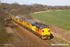 170324-021  Colas Rail Freight class 37 No 37099 Merl Evans in top & tail mode with Network Rail class 97 No 97302 is captured passing behind Sutton reservoir, on the Robin Hood Line with 1Q02, 15:00 Thoresby Colliery Junction - Derby RTC. The PLPR test train was returning to the test centre after visiting the High Marnham Test Track for calibration.