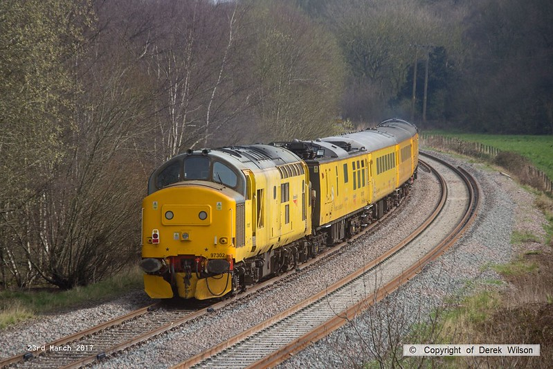 170323-014  Colas Rail Freight class 37 No 37099 Merl Evans in top & tail mode with Network Rail class 97 No 97302, captured nearing Boughton Junction on the High Marnham Test Track.. The test train was visiting the test track for calibration & had just arrived as 1Q01, 09.06 Derby RTC - Thoresby Colliery Junction.