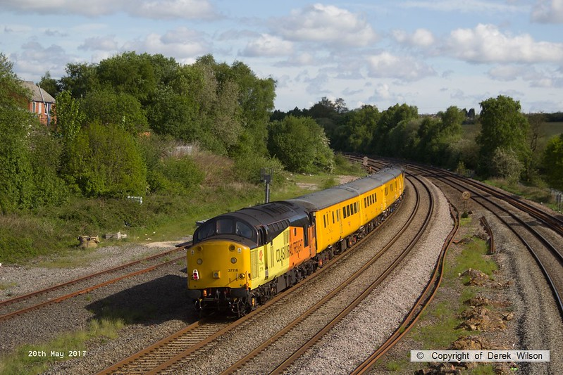 170520-003  Colas Rail Freight class 37's No's 37219 Jonty Jarvis & 37116 are captured heading away from the camera, passing Clay Cross, top & tailing test train 1Q17, 08:52 Derby RTC - Heaton T.&R.S.M.D.
