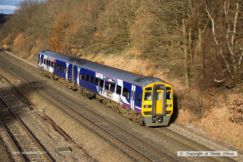 171129-009  Northern class 158 unit No 158792 passing Tupton with 1Y25, the 11:06 Leeds - Nottingham.