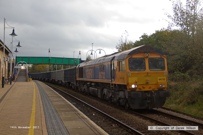 171114-003  GB Railfreight class 66/7 No 66732 GBRf The First Decade 1999-2009 John Smith - MD, seen passing through Mansfield Woodhouse powering train 6E89, 10:20 Wellingborough - Rylstone.