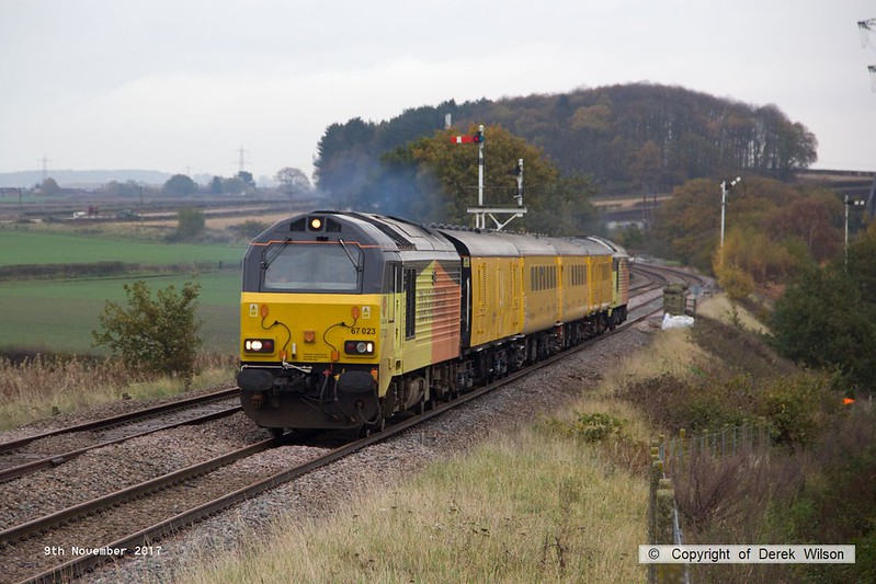 171109-003  Colas Rail Freight class 67's No's 67023 Stella & 67027 Charlotte in top & tail mode are captured passing the former Clipstone West Junction, powering test train 1Z01, 15:58 High Marnham - Derby RTC which is returning to the test centre having visited the High Marnham Test Track for calibrating.