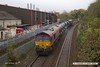 171028-010  DB Cargo class 66's 66104 & 66151 in top & tail mode are captured passing Princes Street footbridge, Mansfield, with RHTT 3J88, (23:07) Toton TMD - Toton TMD.