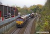 171028-012  DB Cargo class 66's 66104 & 66151 in top & tail mode are captured passing Princes Street footbridge, Mansfield, with RHTT 3J88, (23:07) Toton TMD - Toton TMD.