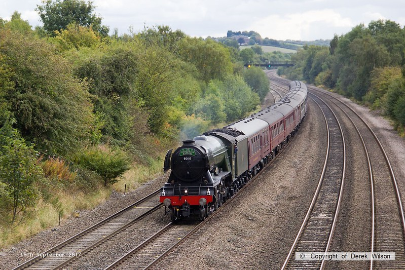 170915-010  LNER A3 4-6-2 No 60103 Flying Scotsman speeds past Hasland with 1Z60, 08:43 London Victoria - York.