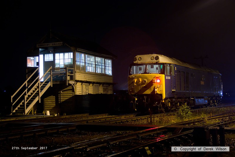 170927-002  50008 Thunderer, captured in pouring rain, adjacent to Thoresby signal box after being detached from the Loram Rail Grinder that it brought from Derby as 4Z01, 17:30 Derby RTC - Thoresby Coliery Junction, it then reversed & crossed over to collect the other two grinders that were waiting near the end of the test track, taking them to Loram at Derby as 8Z01 21:30 Thoresby colliery jn. - Derby RTC. Corrective Rail Grinder 1, the one just returned can now run on the system under it's own power, so completed the short stretch to the test track unaided, and then ran forward to Tuxford.