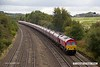 170915-003  Recently repainted DB Cargo class 66/0 No 66034 passes Hasland with train 4M11, 10:01 Washwood Heath r.m.c. - Peak Forest Cemex Sidings, empty hoppers.