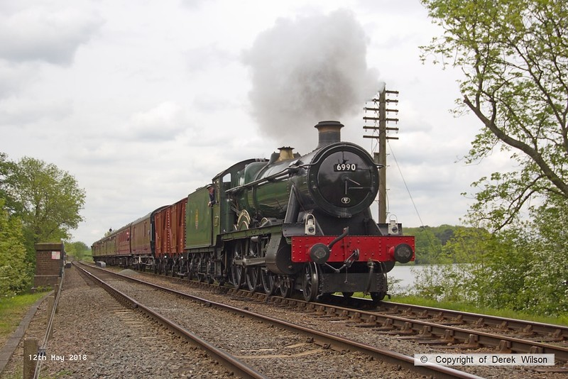 180512-041  GWR Hall 4-6-0 No. 6990 Witherslack Hall passing Swithland reservoir with 1A23, the 12:40 Loughborough - Leicester North.