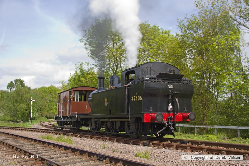 180512-027  LMS jinty 3F 0-6-0T No. 47406 heads onto the Mountsorrel branch with 0N00, 11:25 Quorn - Swithland up loop - Nunckley Hill Yard (Mountsorrel Branch).