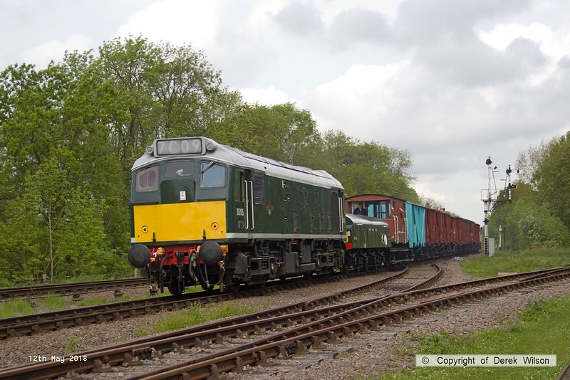 180512-011  BR type 2, class 25 No. D5185 is seen passing Swithland with the brake tender & a rake of vans, included the freshly painted blue fish van, working 7C09, 10:05 Loughborough - Rothley Brook.