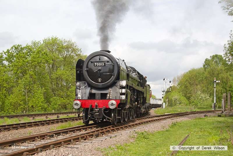 180512-014  BR Britannia 4-6-2 No. 70013 Oliver Cromwell is seen arriving at Swithland with the mineral wagons, powering 9S10, 10:30 Loughborough - Swithland up loop.