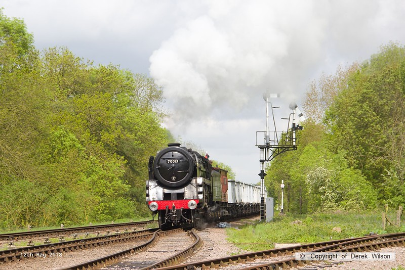 180512-012  BR Britannia 4-6-2 No. 70013 Oliver Cromwell is seen arriving at Swithland with the mineral wagons, powering 9S10, 10:30 Loughborough - Swithland up loop.