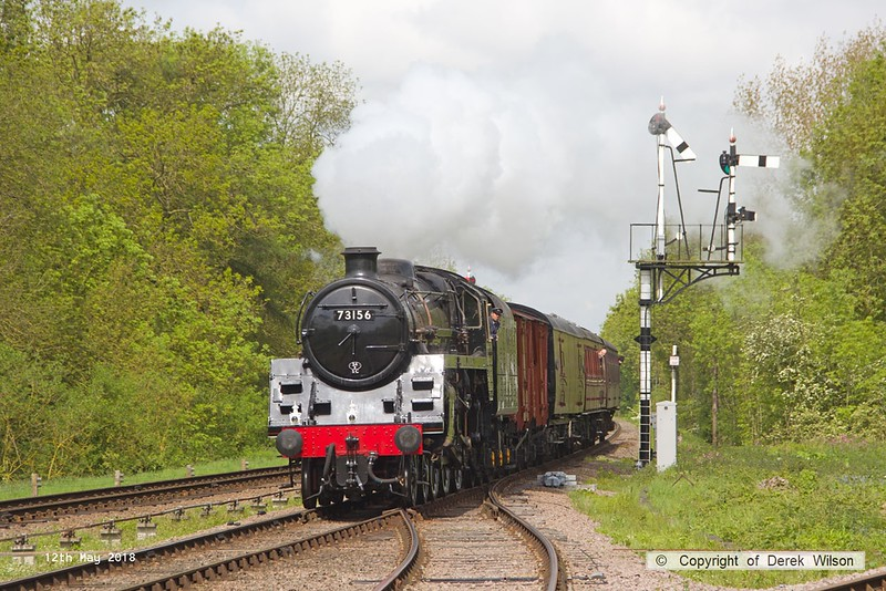 180512-023  BR 5MT 4-6-0 No. 73156 is captured at Swithland with parcels train, 2C13, the 11:00 Loughborough - Rothley Brook.