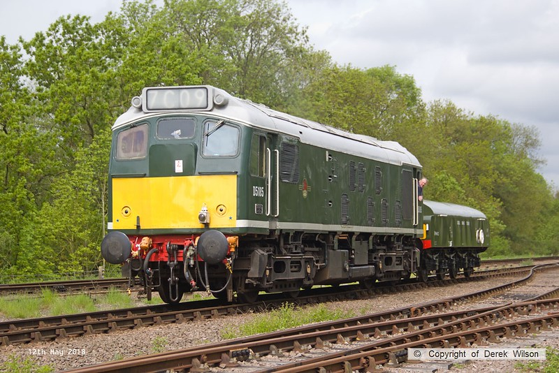 180512-016  BR type 2, class 25 No. D5185 is seen at Swithland with the brake tender, running as 0W10, 10:38 Rothley Brook - Swithland up loop.