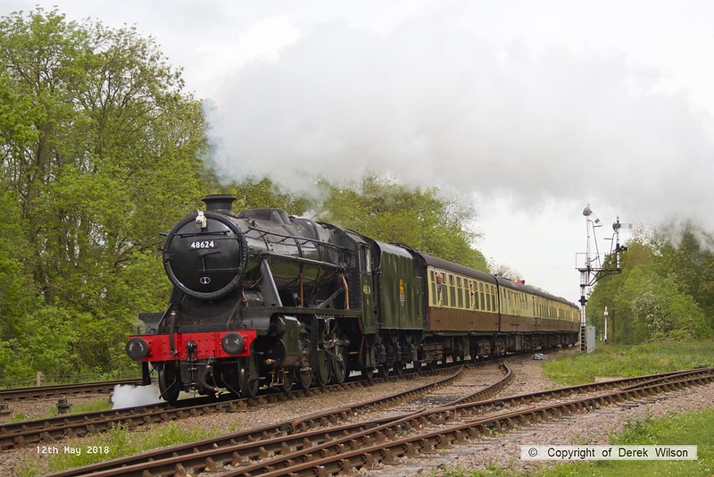 180512-009  LMS Stanier 8F 2-8-0 No. 48624 is seen passing Swithland with 2A08, the 09:50 Loughborough - Leicester North.
