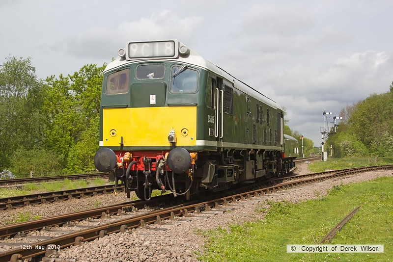 180512-019  BR type 2, class 25 No. D5185 with the brake tender is seen crossing onto the loop at Swithland, running as 0W10, 10:38 Rothley Brook - Swithland up loop.