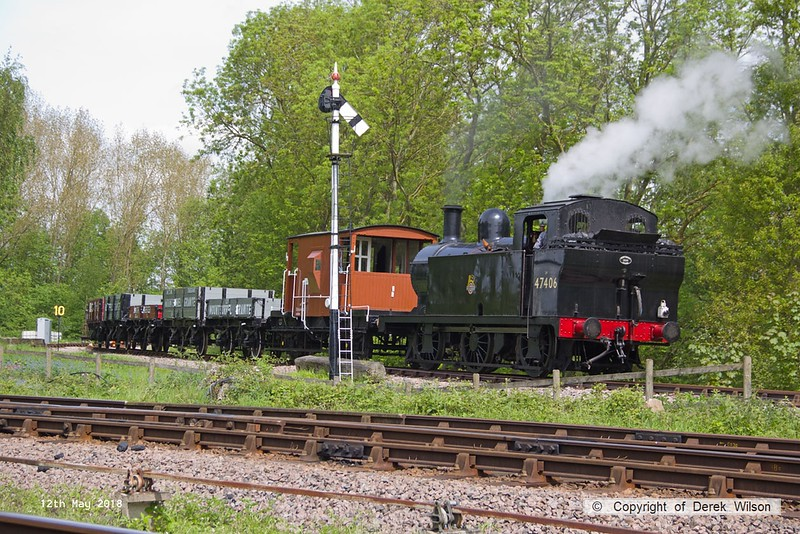 180512-030  LMS jinty 3F 0-6-0T No. 47406 is captured coming off the Mountsorrel branch with 2W21, Nunckley Hill Yard (Mountsorrel Branch) - Swithland up loop - Loughborough, hauling a nice rake of mixed goods wagons.