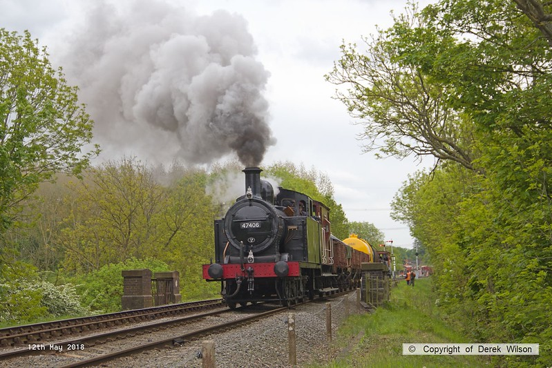 180512-044  LMS Jinty 3F 0-60T No. 47406 is seen leaving Swithland with 2W21, Nunckley Hill Yard (Mountsorrel Branch) - Swithland up loop - Loughborough. Seen with a nice assortment of mixed goods, and unusually facing north for a change.