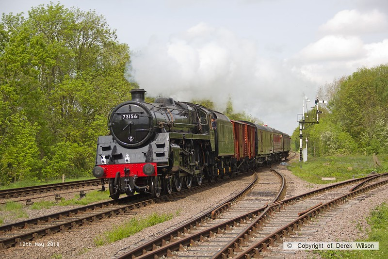 180512-025  BR 5MT 4-6-0 No. 73156 is captured at Swithland with parcels train, 2C13, the 11:00 Loughborough - Rothley Brook.