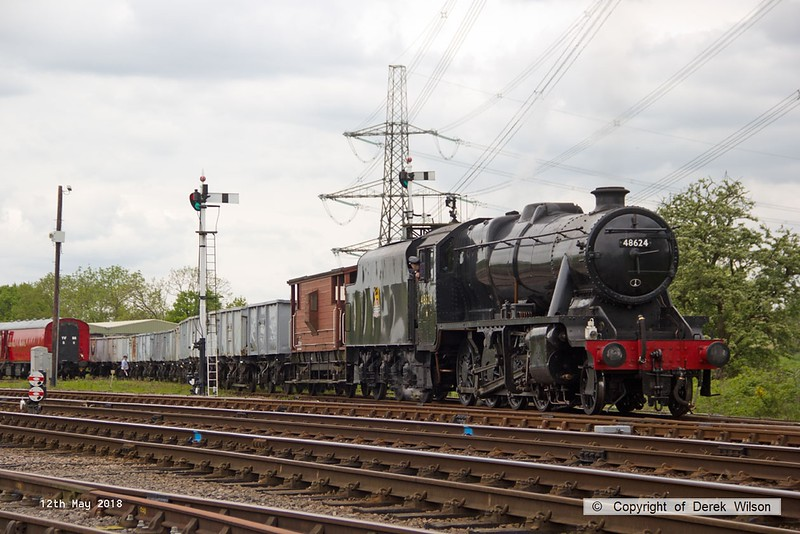 180512-054  LMS Stanier 8F 2-8-0 No. 48624 is seen propelling the mineral wagons into Swithland sidings.