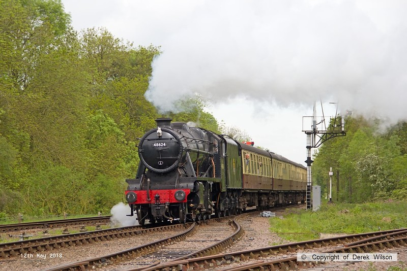 180512-007  LMS Stanier 8F 2-8-0 No. 48624 is seen passing Swithland with 2A08, the 09:50 Loughborough - Leicester North.