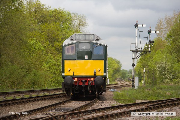 180512-018  BR type 2, class 25 No. D5185 is seen crossing onto the loop at Swithland, running as 0W10, 10:38 Rothley Brook - Swithland up loop.
