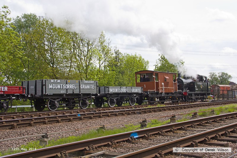 180512-034  LMS jinty 3F 0-6-0T No. 47406 is captured coming off the Mountsorrel branch with 2W21, Nunckley Hill Yard (Mountsorrel Branch) - Swithland up loop - Loughborough, hauling a nice rake of mixed goods wagons.