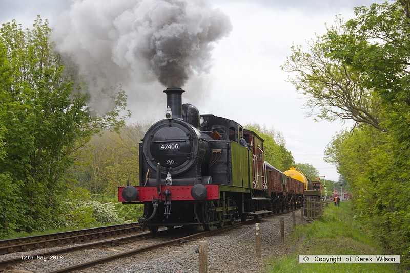 180512-046  LMS Jinty 3F 0-60T No. 47406 is seen leaving Swithland with 2W21, Nunckley Hill Yard (Mountsorrel Branch) - Swithland up loop - Loughborough. Seen with a nice assortment of mixed goods, and unusually facing north for a change.