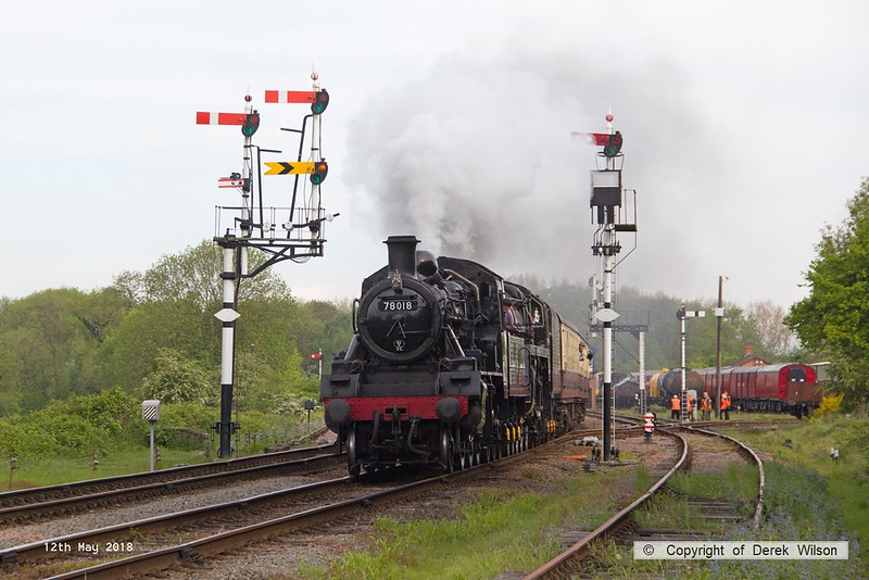 180512-002  The first passenger service of the weekend was double headed by BR standards 78018 & 73156, the pair are seen passing Swithland with 2A03, the 09:00 Loughborough - Leicester North. 73156 which was failed when making it's debut at the winter gala has been repaired just in time for this event.