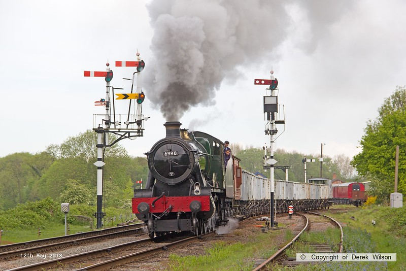 180512-006  Great Western Railway Hall 4-6-0 No. 6990 Witherslack Hall is captured pulling out of Swithland sidings with a rake of mineral hoppers in tow. Seen running as 9R04, 09:26 Swithland sidings - Rothley Brook