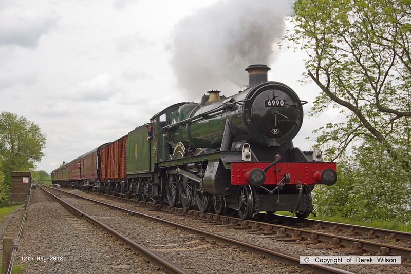 180512-043  GWR Hall 4-6-0 No. 6990 Witherslack Hall passing Swithland reservoir with 1A23, the 12:40 Loughborough - Leicester North.