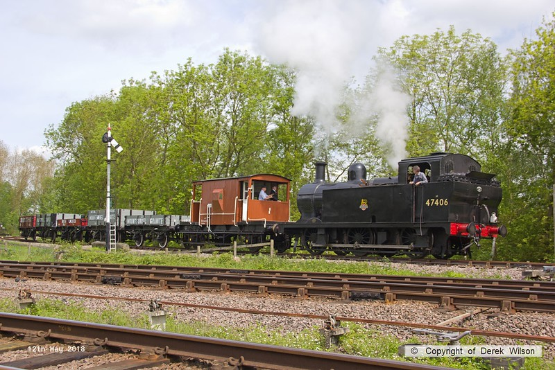 180512-033  LMS jinty 3F 0-6-0T No. 47406 is captured coming off the Mountsorrel branch with 2W21, Nunckley Hill Yard (Mountsorrel Branch) - Swithland up loop - Loughborough, hauling a nice rake of mixed goods wagons.