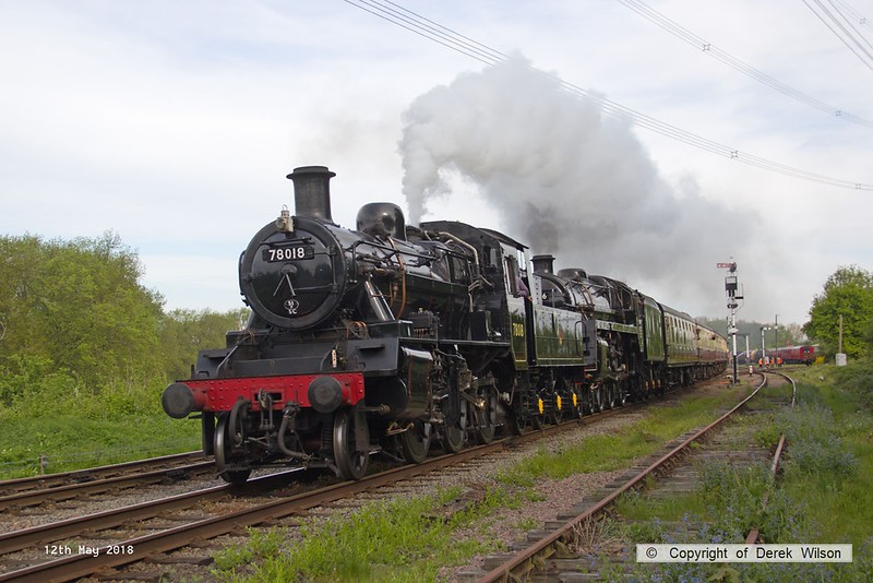 180512-004  The first passenger service of the weekend was double headed by BR standards 78018 & 73156, the pair are seen passing Swithland with 2A03, the 09:00 Loughborough - Leicester North. 73156 which was failed when making it's debut at the winter gala has been repaired just in time for this event.