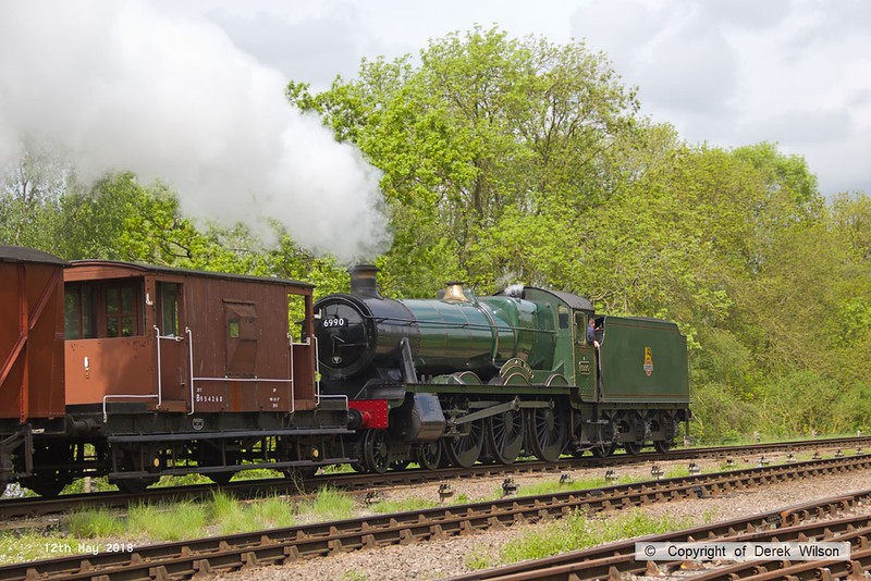 180512-015  GWR Hall 4-6-0 No. 6990 Witherslack Hall is seen passing Swithland tender first, powering train 7D07, 10:35 Rothley Brook - Loughborough.