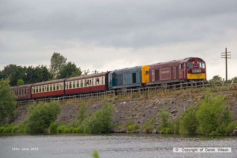 180616-093  Class 20's No's 20142 Sir John Betjeman & 20189 are seen traversing Butterley reservoir with the 14:22 Hammersmith - Riddings.