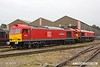 180616-006  DB Cargo class 60 No. 60100 with the nameplate still covered & class 66 No. 66065 are seen in Swanwick yard.