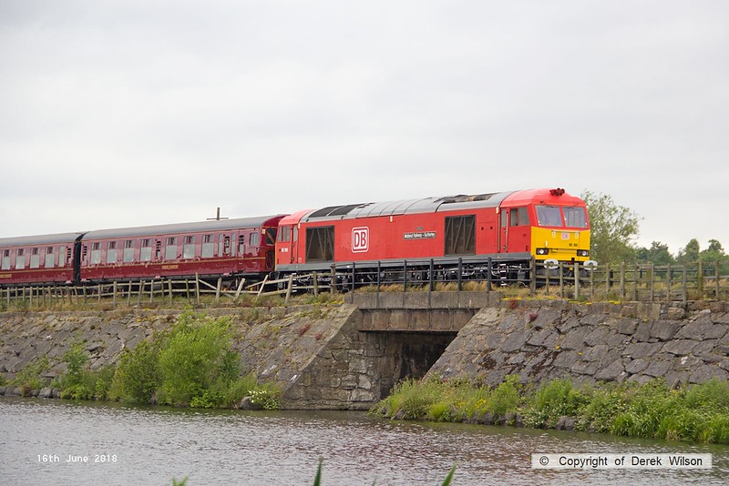 180616-089  DB Cargo class 60 No. 60100 Midland Railway - Butterley is captured crossing Butterley reservoir with the 13:42 Hammersmith - Riddings