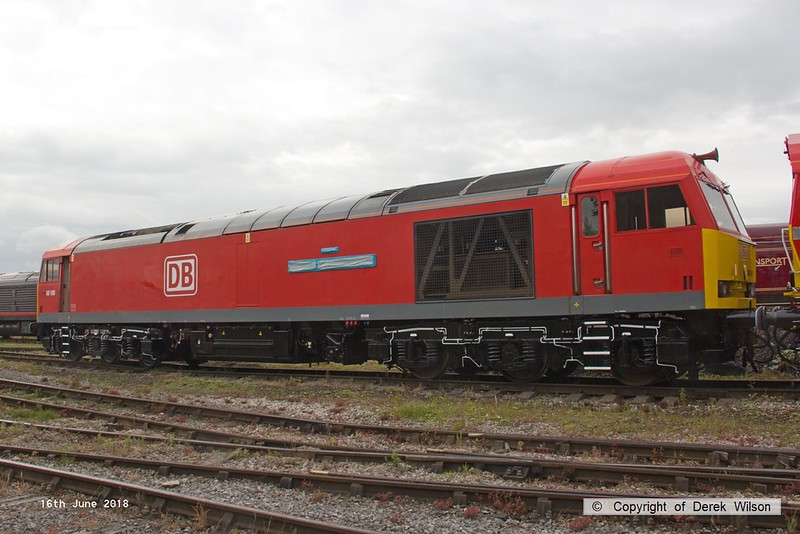 180616-003  DB Cargo class 60 No. 60100 in Swanwick yard.  For the event this was named Midland Railway - Butterley and is seen with the namplate still covered, although the plate on the other side was already uncovered.