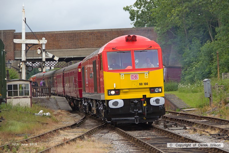180616-078  DB Cargo class 60 No. 60100 Midland Railway - Butterley is captured passing Butterley with the 12:14 Hammersmith - Riddings.