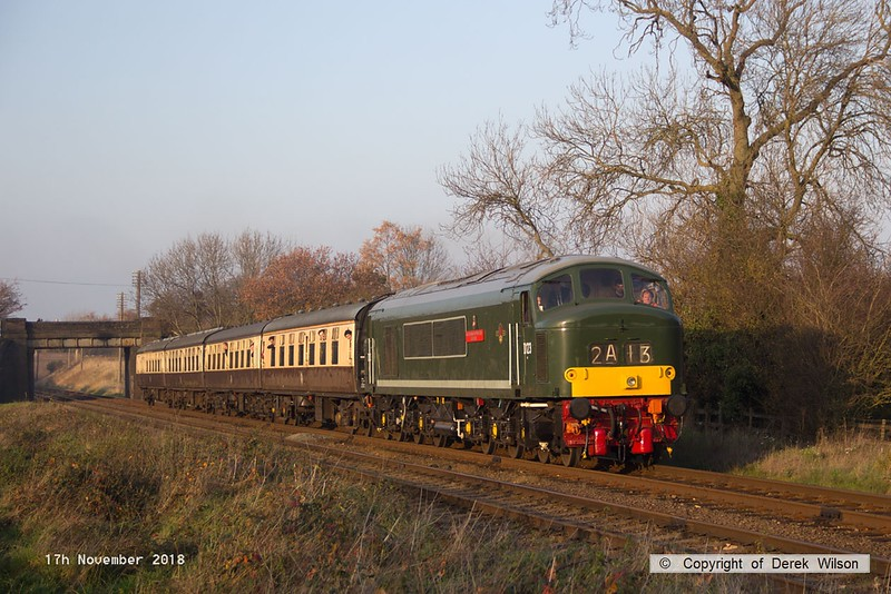 181117-036  BR Peak diesel, class 45 No. D123 Leicestershire & Derbyshire Yeomanry is captured in some nice Autumn light as it passes Woodthorpe with 2C26, the 14:30 Loughborough - Rothley Brook.