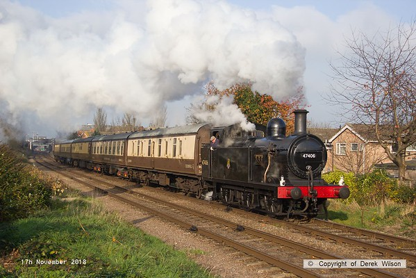 181117-025  As always, the LMS Jinty 3F 0-6-0T No. 47406 makes a dramatic scene, captured pulling away with 1A19, the 13:00 Loughborough - Leicester North.