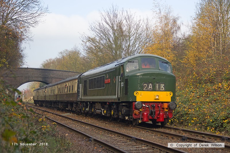 181117-016  BR Peak diesel, class 45 No. D123 Leicestershire & Derbyshire Yeomanry passing Charnwood, Loughborough, powering 2C13, the 12:00 Loughborough - Rothley Brook.