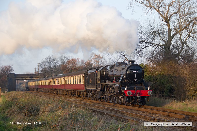 181117-041  LMS Stanier 'black five' 5MT 4-6-0 No. 45305 Alderman A.E. Draper, looking resplendent and back in traffic after a two year overhaul, captured storming past Woodthorpe with express 1A27, the 14:45 Loughborough - Leicester North.