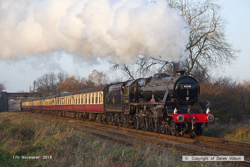 181117-043  LMS Stanier 'black five' 5MT 4-6-0 No. 45305 Alderman A.E. Draper, looking resplendent and back in traffic after a two year overhaul, captured storming past Woodthorpe with express 1A27, the 14:45 Loughborough - Leicester North.