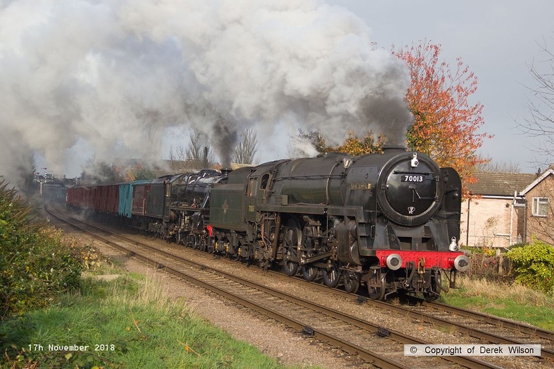 181117-020  BR Brittania 4-6-2 No. 70013 Oliver Cromwell & LMS black five 4-6-0 No 45303 Alderman A.E. Draper storming away from Loughborough with the vans, running as 7S14, 12:20 Loughborough - Swithland.