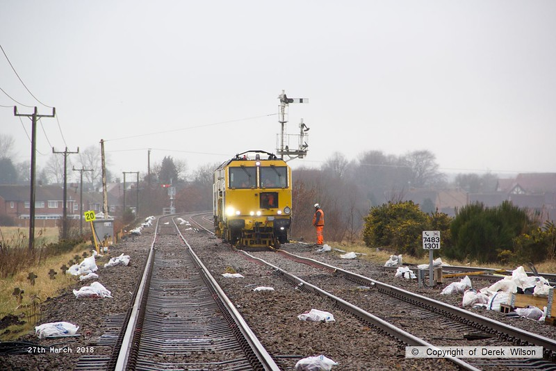 180327-002  Volker Rail Tamper No. DR75405 tamping on the up line at Thoresby after removal of the crossovers & inlet points to the colliery branch and sidings.